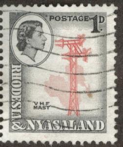 Rhodesia and Nyasaland Scott 150 used 1d from 1954 CV $0.40