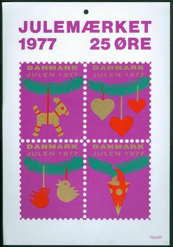 Denmark. Christmas Seal.1977. 1 Post Office,Display,Advertising Sign. Decoration