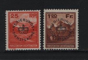 LIECHTENSTEIN O9-O10 Hinged, 1933 Mt. Naafkopf and Vaduz Castle Overprinted