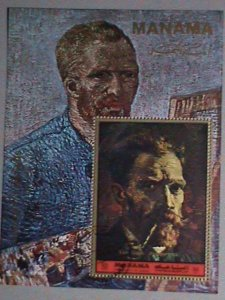 MANAMA AIRMAIL STAMP: 1972   PAINTING OF VAN GOGH; PORTRAIT - CTO MNH S/S