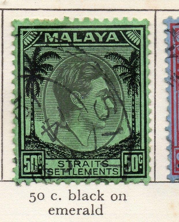 Malaya Straights Settlements 1937-41 Early Issue Fine Used 50c. 205381
