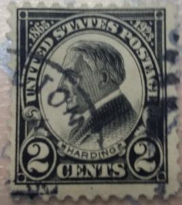 US Harding 2c perf 11 black Scott 610
