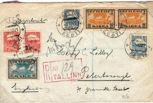 ESTONIA Cover Registered Tallinn GB Peterborough 1921{samwells-covers} SL7