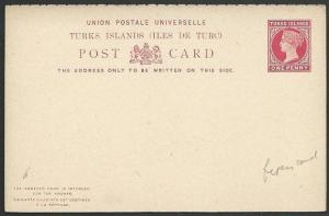 TURKS ISLANDS QV 1d postcard + 1d reply attached fine unused...............49434