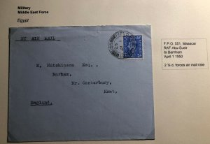 1950 Maascar Egypt Middle East Forces PO Airmail Cover To Barham England