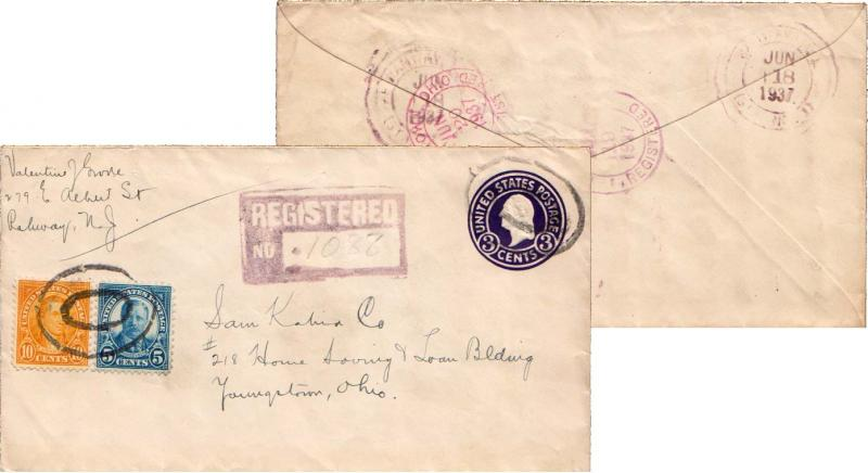 United States New Jersey Rahway (Sta. No. 1) 1937 double ring  5c Roosevelt a...