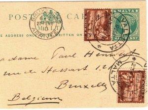 MALTA QV Stationery Card Uprated Valletta Belgium Brussels 1910{samwells}PB207