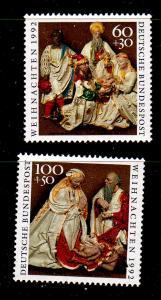 Germany Sc B739-40 1992 Christmas stamp set mint NH