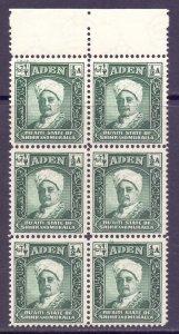 Aden Mukalla Scott 1 - SG1, 1942 Sultan 1/2a Block of 6 MNH**