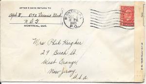 Canada Cover to West Orange, NJ - December 1940 - Censored