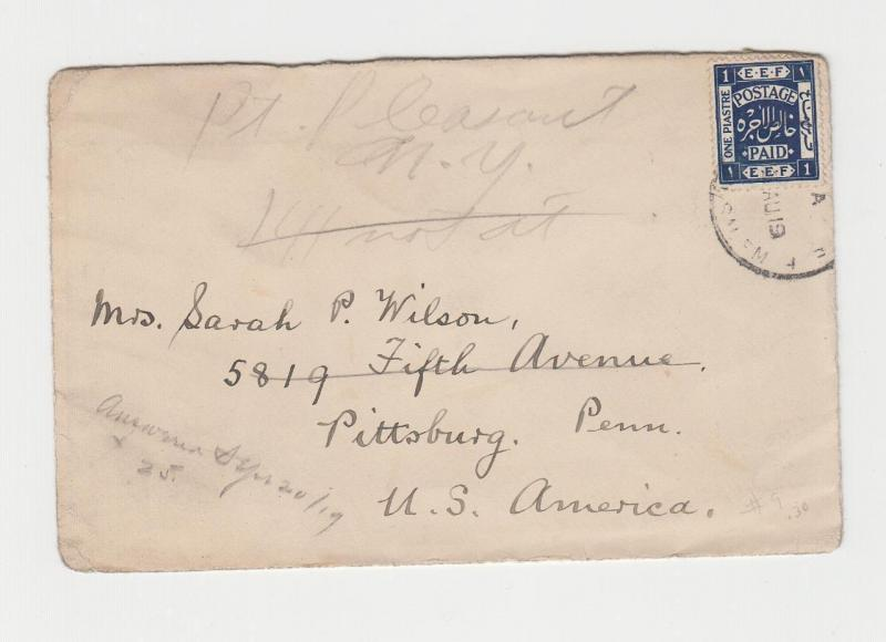 PALESTINE - USA 1919 MISSIONARY COVER, (PROUD D3 CDS) 1p RATE (SEE BELOW)