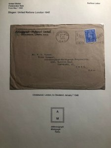 1946 Cricklewood England Cover To Cleveland OH USA United Nations Cancel