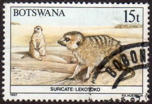 Botswana 413 - Used - 15t Suricate (Meerkat) (1987) (cv $2.50)