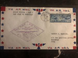 1931 San Juan puerto Rico USA First Flight cover FFC to nuevitas Cuba FAM 6