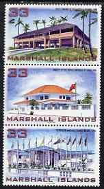 Marshall Islands 1998 New Buildings se-tenant strip of 3 ...