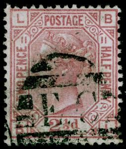 SG141, 2½d rosy mauve PLATE 11, USED. Cat £80. BL