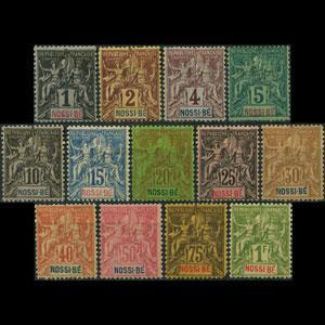 NOSSI-BE 1894 - Scott# 32-44 Goddess Set of 13 LH faults