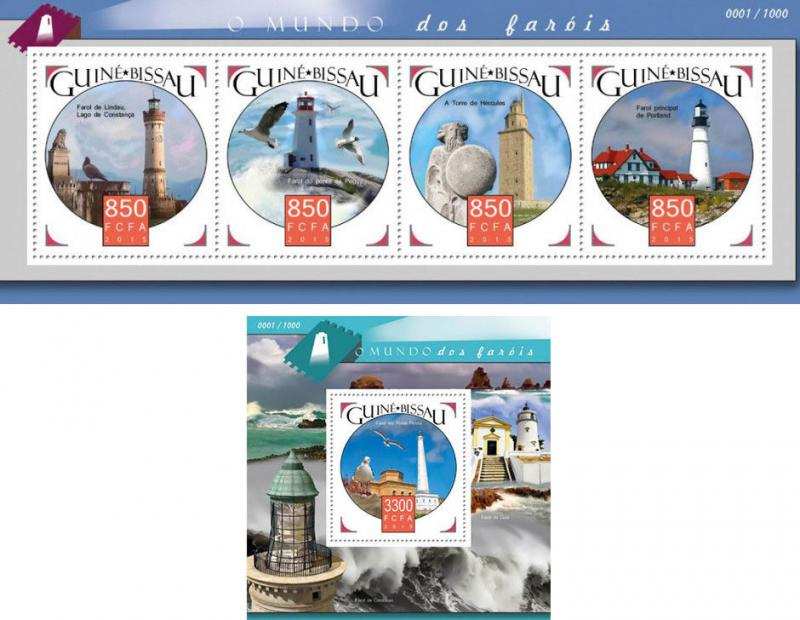 Lighthouses Leuchttürme Phares Architecture Guinea-Bissau MNH stamp set