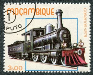Railroads: 1st Class Locomotive (1878), 1979 Mozambique, Scott #658. Free WW S/H