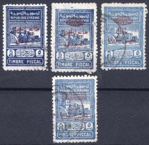 Syria 1945 5p Blue POST TAX Scott RA 1, 4, 5 & 9 SG T423, 4, 5 & 6 VFU Cat $103