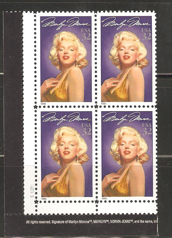 US  Plate Block #2967 Marilyn Monroe