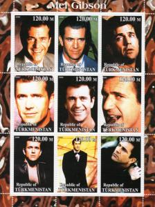 Turkmenistan 2000 MEL GIBSON American Actor  Sheetlet (9) Perforated MNH VF