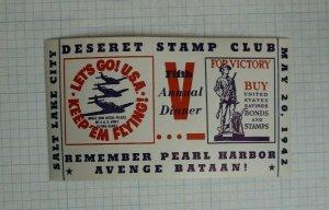 1942 SLC UT Deseret Stamp Club Remember Pearl Harbor Evennt Souvenir Label Ad