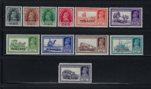 INDIA- PATIALA STATE- SCOTT #80-90 1937-38 GEORGE VI  PARTIAL SET  MINT HINGED