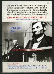PALAU NEVER BEFORE OFFERED RARE 50th MEMORIAL OF WINSTON CHURCHILL & LINCOLN IMP