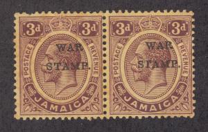 Jamaica SG 72e MNH pair, 1916 3p purple on yellow KGV, dropped W & broken T vars