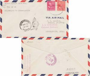 United States U.S. First Flight 2c Adams and 6c Adams Prexie 1945 Milwaukee, ...