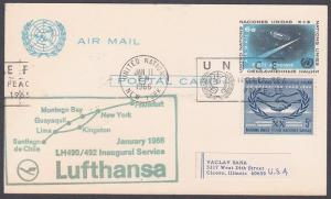 USA UN FRANKING 1966 first flight postcard NY to Kingston Jamaica...........7183