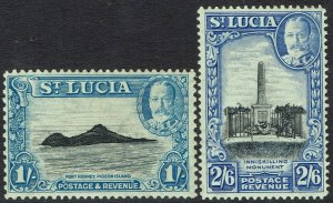 ST LUCIA 1936 KGV PICTORIAL 1/- AND 2/6