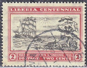 LIBERIA SCOTT# 210  USED  2c  1923  FIRST SETTLERS  SEE SCAN
