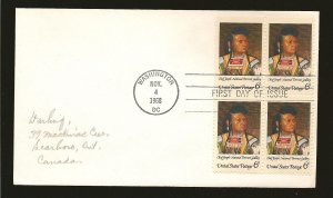 USA 1364 American Indian Issue 1968 Block of 4 First Day Cover