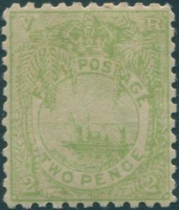 Fiji 1891 SG89 2d dull green Native Canoe MLH