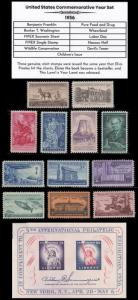 1956 US Postage Stamps Complete Commemorative Year Set Mint