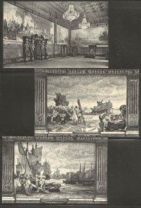 Germany. Hamburg City Hall, Set of 6 Postcards. Paintings by Hugo Vogel.