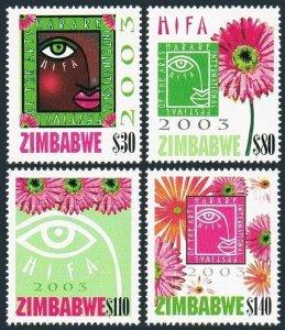 Zimbabwe 933-936,MNH. Harare Festival of the Arts,2003.Emblem,flowers.