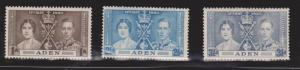 ADEN Scott # 13-15 MH - KGVI Coronation Set