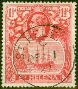 St Helena 1923 1 1/2d Rose-Red SG99 'Madam Joseph' Forged Cancel Fine Used