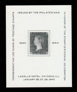 1940 PHILATERIANS STAMP CENTENNIAL SOUVENIR SHEET CHICAGO IL (MNH-OG)