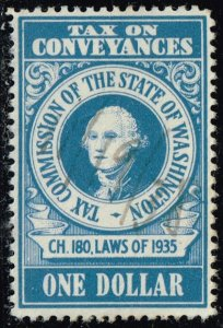 US TAX STAMP STATE OF WASHINGTON  $1 BLUE CONVEYANCES TAX PAID STAMP XFS SUPERB