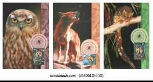AUSTRALIA - 1997 CREATURES OF THE NIGHT / OWL - MAXI CARD - FDI 6NOs