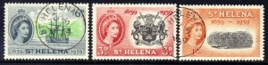 St Helena 1959 QE2 Set Tercentenary FDI Pmk 5 May 59 used SG 169 - 171 ( J160 )