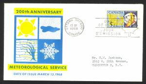 Canada Sc# 479 (cachet) FDC single (c) 1968 3.13 Meteorology