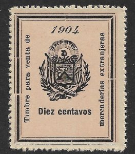 EL SALVADOR 1904 10c ARMS Sales Tax on Imported Merchanise Revenue Ross146 MNGAI