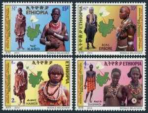 Ethiopia 1791-1794,MNH. Traditional costumes of Southern Ethiopian people,2014.