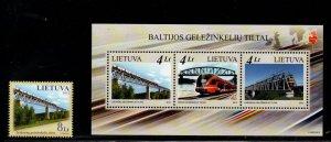 Lithuania Sc 985-86 2012 Railway Bridges stamp & sheet mint NH