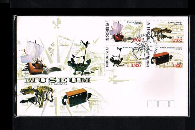2004 - Indonesia FDC 03/04 - Art - Museums - Items form misc. Indonesian muse...